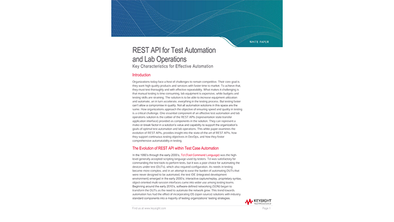 REST API for Test Automation and Lab Operations