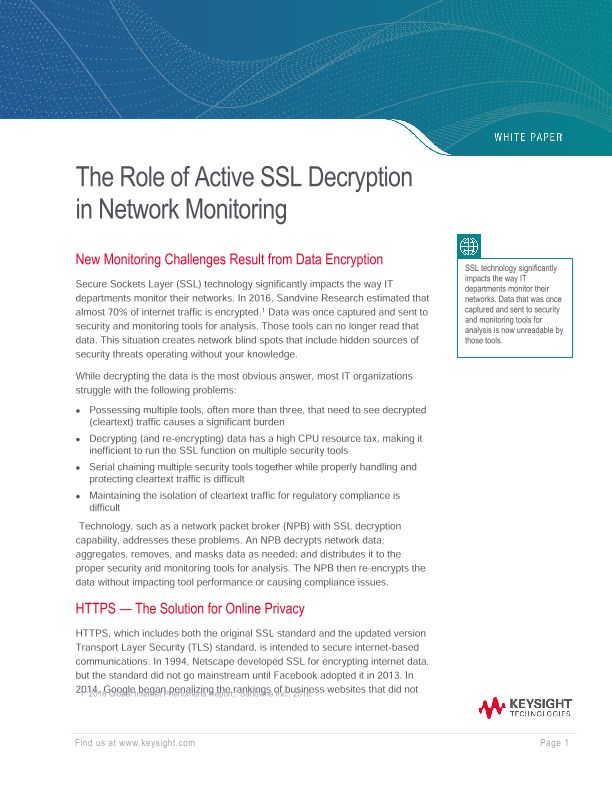The Role of Active SSL Decryption In Network Monitoring