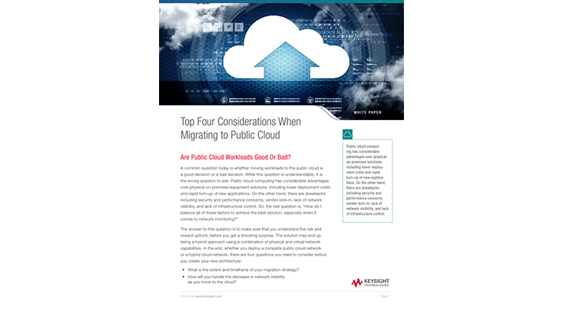 Top Four Considerations When Migrating to Public Cloud