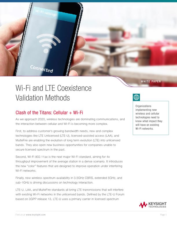 Wi-Fi and LTE Coexistence Validation Methods