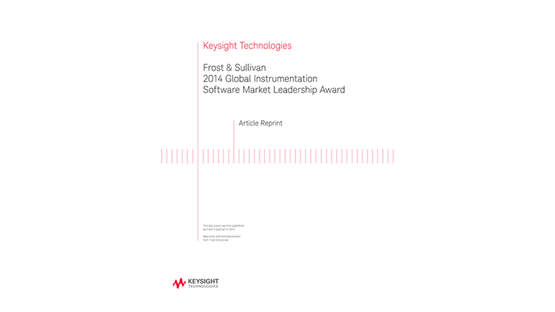 Frost and Sullivan 2014 Global Instrumentation Software Market Leadership Award