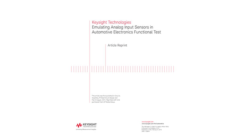 Emulating Analog Input Sensors in Automotive Electronics Functional Test