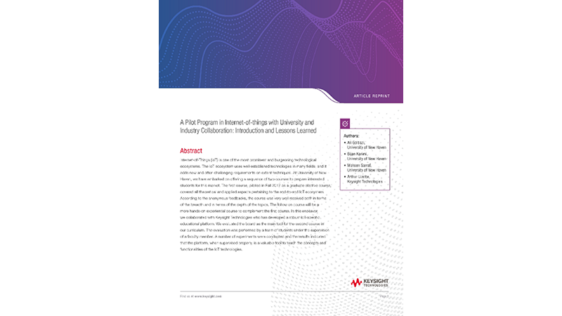 A Pilot Program in Internet-of-things with University and Industry Collaboration: Introduction and Lessons Learned  - AR