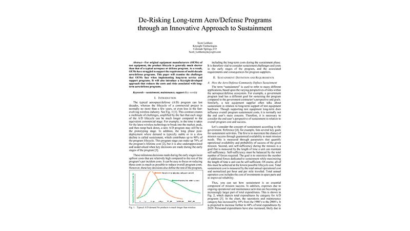 De-Risking Long-term AeroDefense Programs through an Innovative Approach to Sustainment