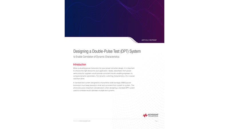 Designing a Double-Pulse Test  (DPT) System to Enable Correlation of Dynamic Characteristics