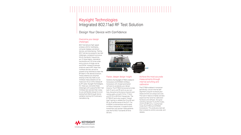 Integrated 802.11ad RF Test Solution