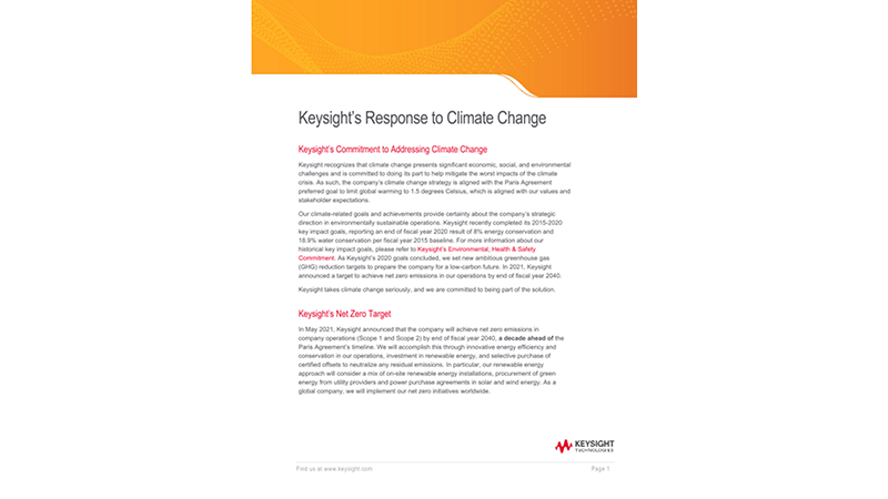 Keysight's Response to Climate Change
