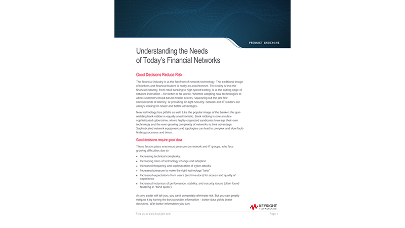 Understanding the Needs of Today's Financial Networks