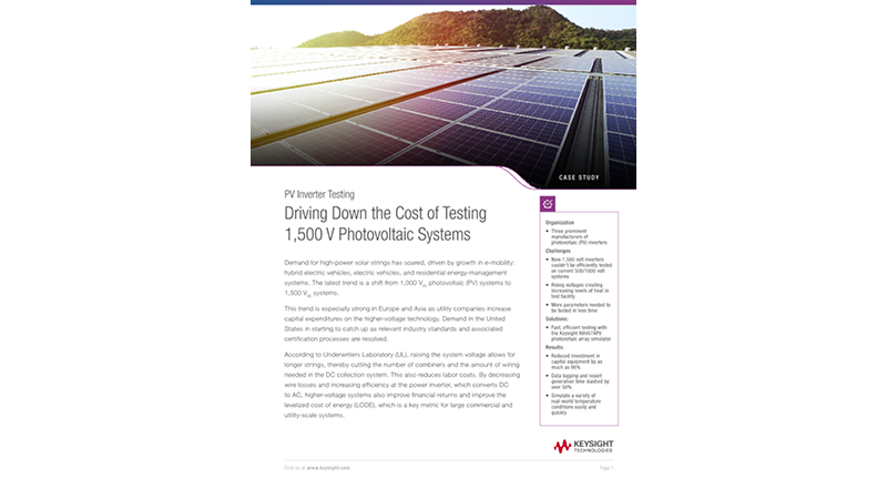 Driving Down the Cost of Testing 1,500 V Photovoltaic Systems