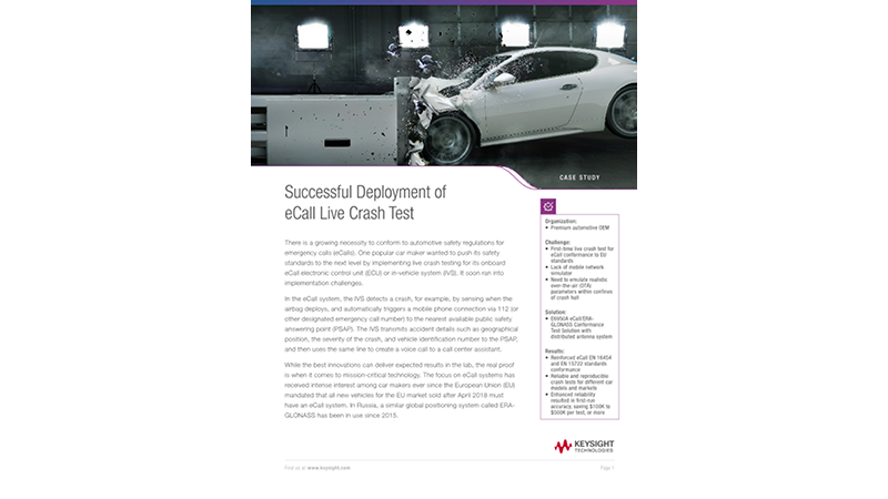 Successful Deployment of eCall Live Crash Test