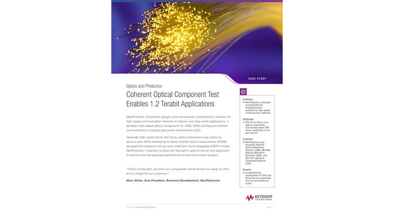 Coherent Optical Component Test Enables 1.2 Terabit Applications