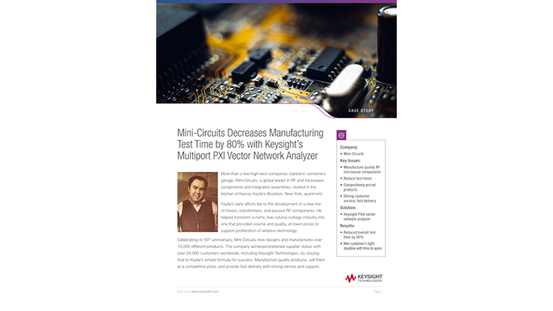 Mini-Circuits Decreases Manufacturing Time with Keysight's PXI VNA