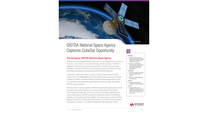 GISTDA Reduces CubeSat Cost and Measurement Time