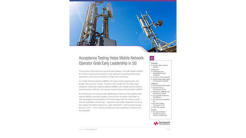 Acceptance Testing Helps Mobile Network Operator Grab Early Leadership in 5G