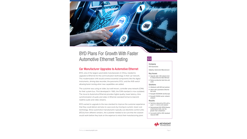 BYD Plans For Growth With Faster Automotive Ethernet Testing