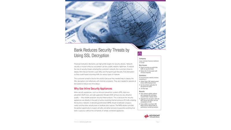 Bank Reduces Security Threats by Using SSL Decryption