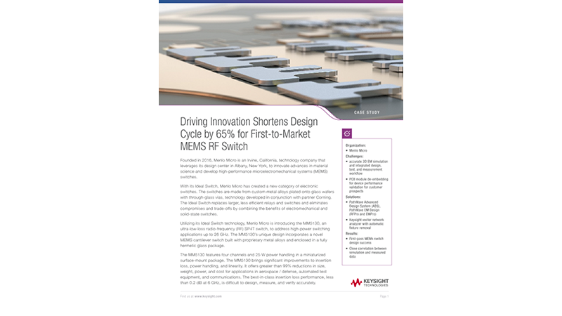 Driving Innovation Shortens Design Cycle by 65% for First-to-Market MEMS RF Switch