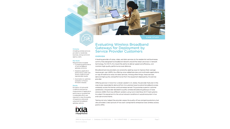 Evaluating Wireless Broadband Gateways for Deployment by Service Provider Customers