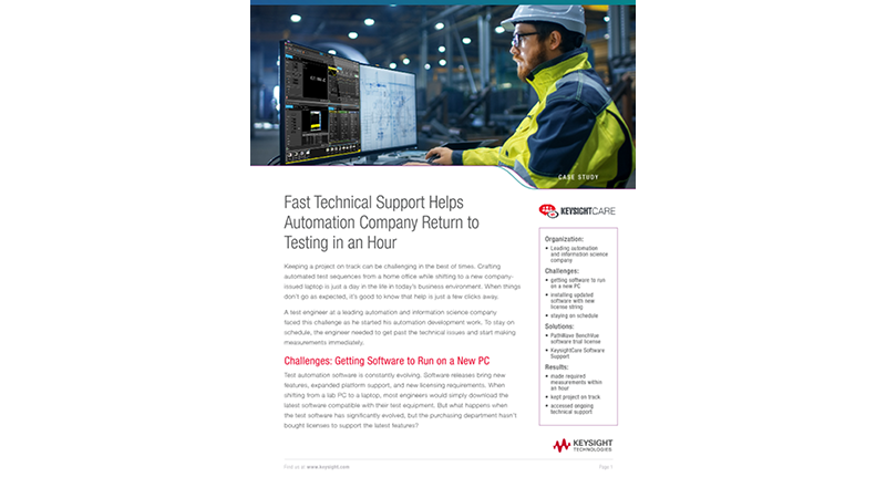 Fast Technical Support Helps Automation Company Return to Testing in an Hour