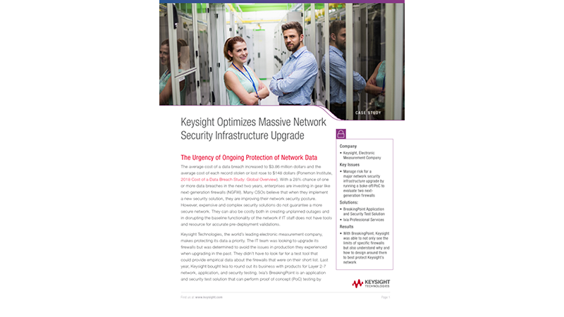 Keysight Optimizes Massive Network Security Infrastructure Upgrade