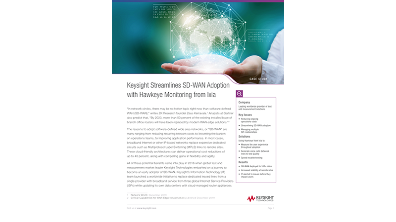 Keysight Streamlines SD-WAN Adoption with Hawkeye Monitoring from Ixia