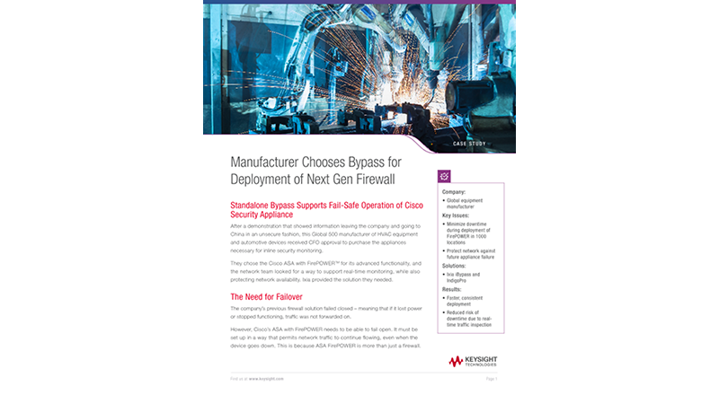 Manufacturer Chooses Bypass for Deployment of Next Gen Firewall