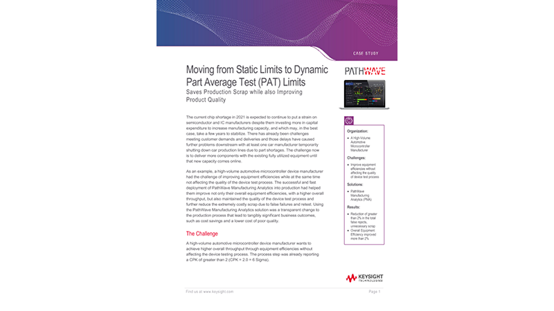Moving from Static Limits to Dynamic Part Average Test (PAT) Limits
