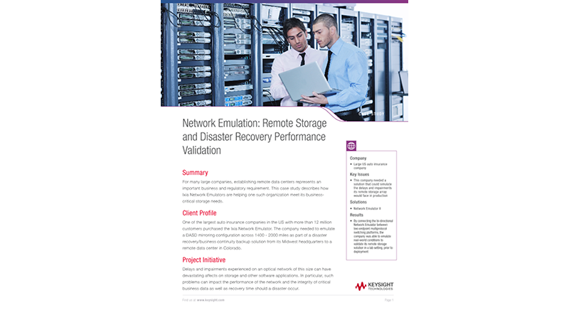 Network Emulation: Remote Storage and Disaster Recovery Performance Validation