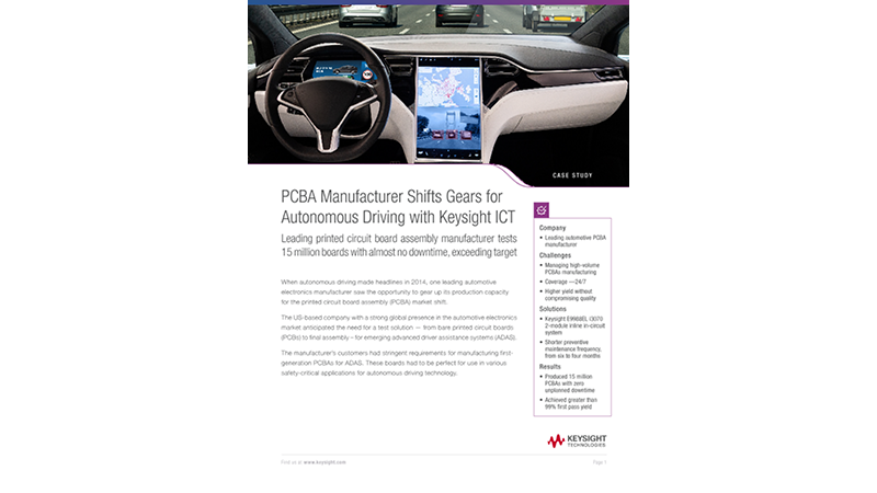 PCBA Manufacturer Shifts Gears for Autonomous Driving with Keysight ICT