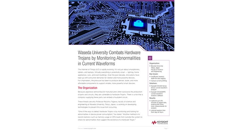 Waseda University Combats Hardware Trojans by Monitoring Abnormalities in Current Waveforms