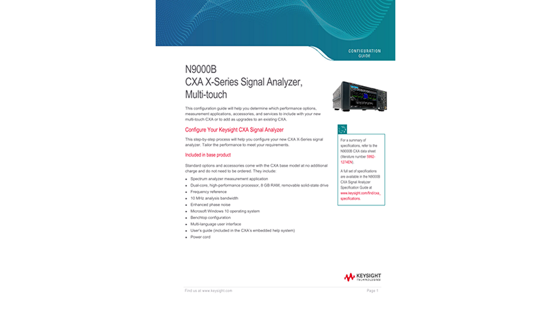 N9000B CXA X-Series Signal Analyzer, Multi-touch
