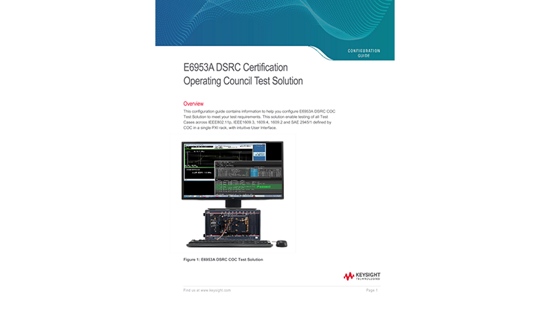 E6953A DSRC Certification Operating Council Test Solution