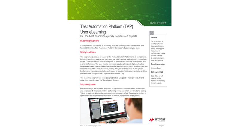 Test Automation Platform (TAP) User eLearning