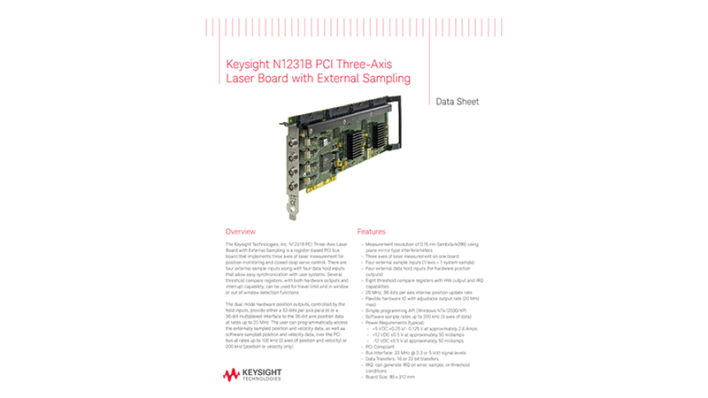 N1231B PCI Three-Axis Laser Board with External Sampling