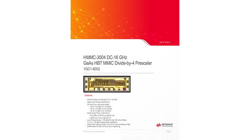 HMMC—3004 DC-16 GHz GaAs HBT MMIC Divide-by-4 Prescaler