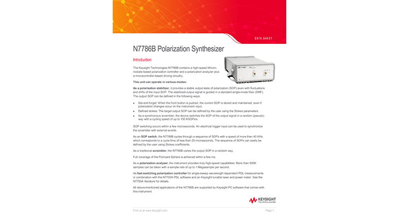 N7786B Polarization Synthesizer