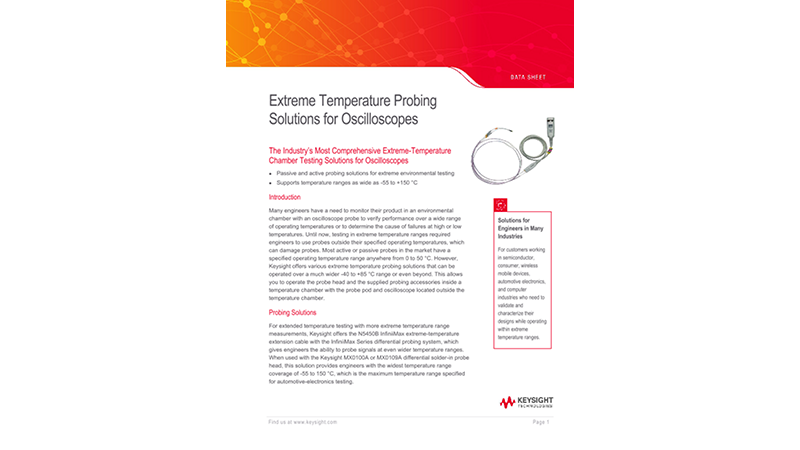 Extreme Temperature Probing Solutions for Oscilloscope Measurements