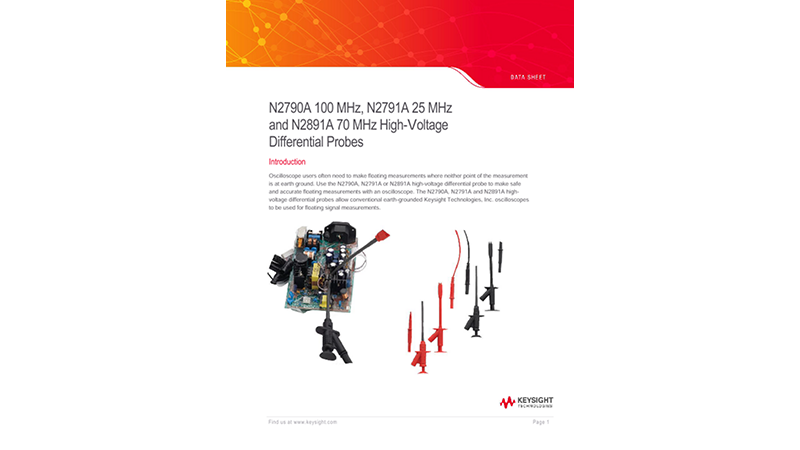 N2790A 100 MHz, N2791A 25 MHz and N2891A 70 MHz High-voltage Differential Probes