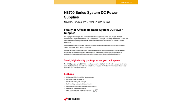 N8700 Series System DC Power Supplies
