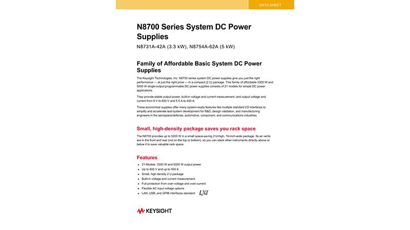 N8700 Series System DC Power Supplies