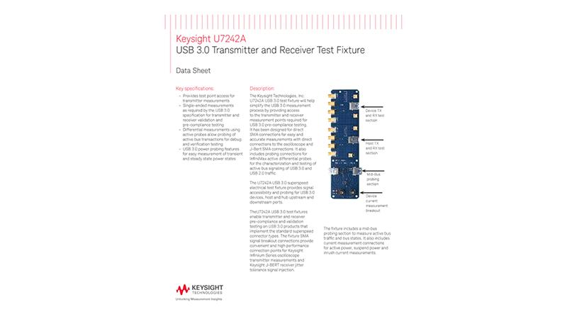 U7242A USB 3.0 Transmitter and Receiver Test Fixture