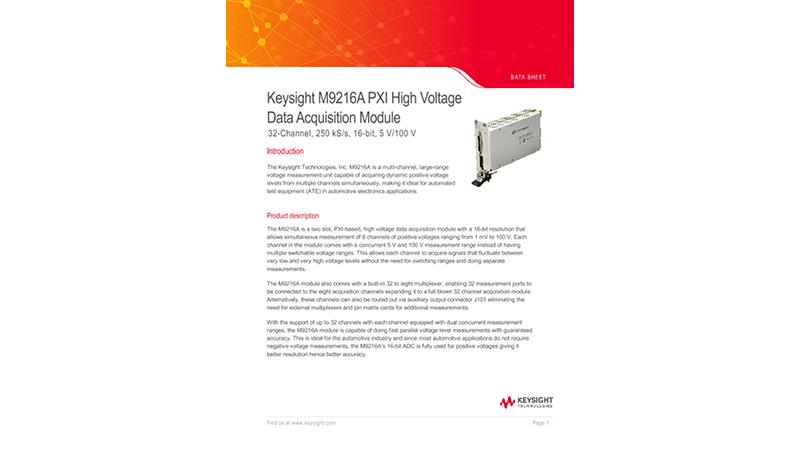 M9216A PXI High Voltage Data Acquisition Module