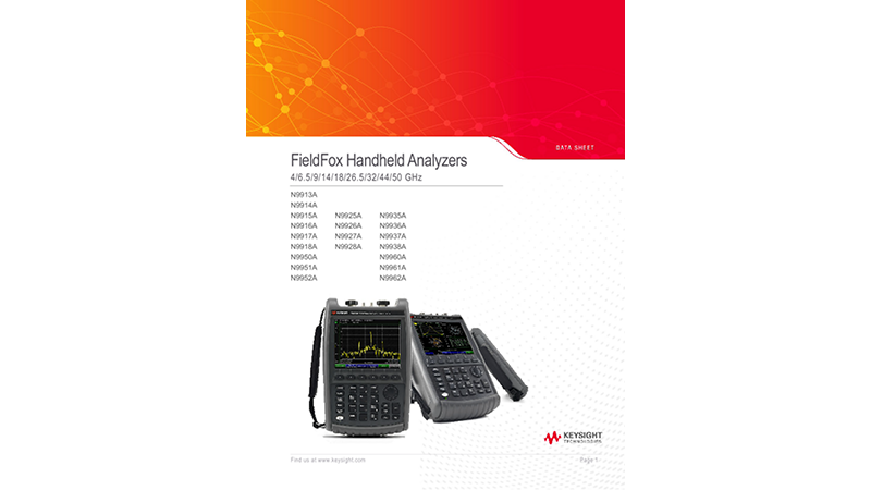 FieldFox Handheld Analyzers 4/6.5/9/14/18/26.5/32/44/50 GHz