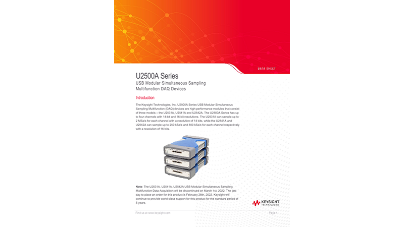 U2500A Series USB Modular Simultaneous Sampling Multifunction DAQ Devices