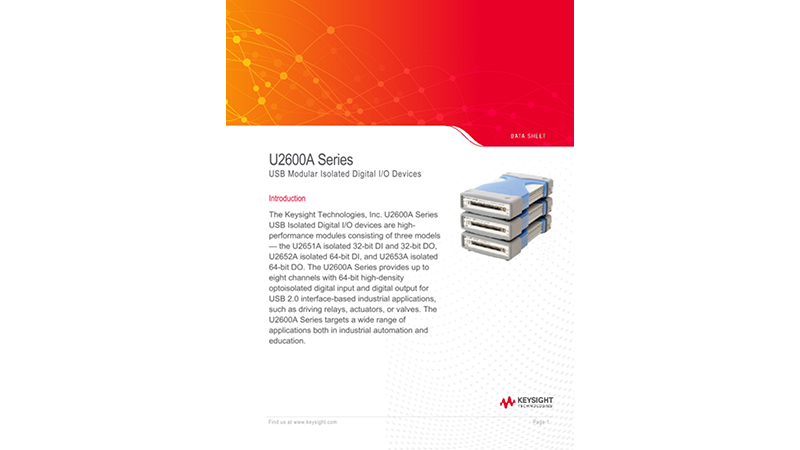 U2600A Series USB Modular Isolated Digital I/O Devices