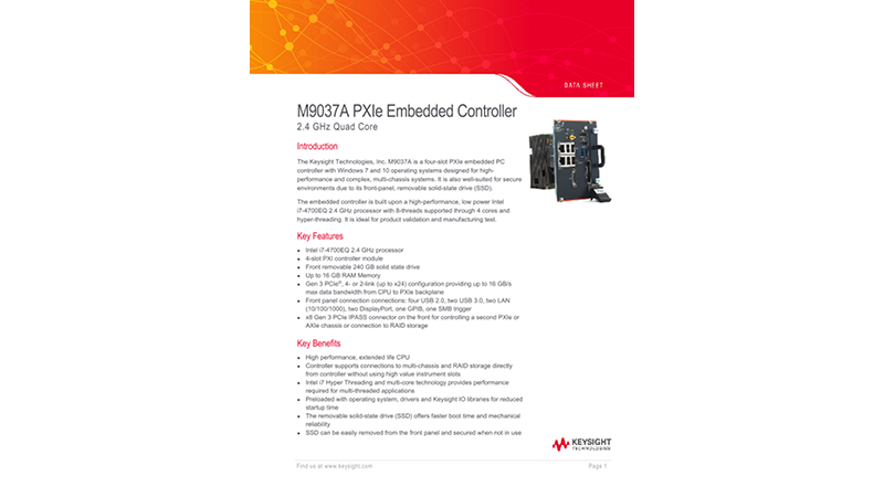 M9037A PXIe Embedded Controller