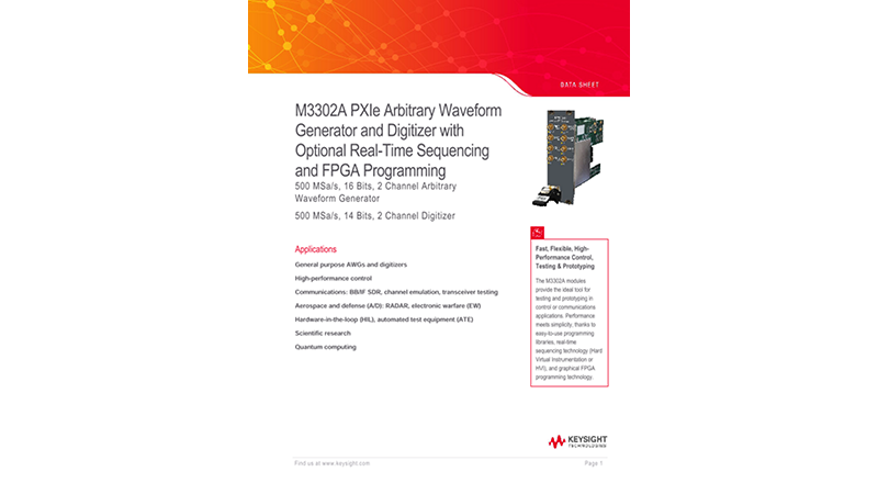 M3302A PXIe Arbitrary Waveform Generator and Digitizer with Optional Real-Time Sequencing and FPGA Programming