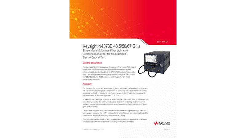 N4373E 43.5/50/67 GHz Single-Mode Fiber Lightwave Component Analyzer for 100G/400G/1T Electro-Optical Test