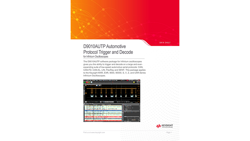 D9010AUTP Automotive Decode and Trigger Software Data Sheet