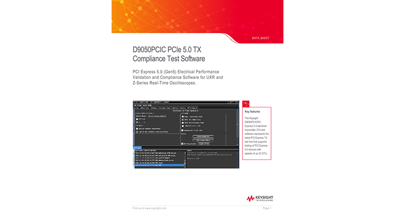 D9050PCIC PCI Express 5.0 (Gen5) Electrical Performance Validation and Compliance Software